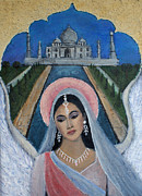 Charlotte Painting Prints - Amishi An Earth Angel Representing A Young Bride On Her Wedding Day Print by The Art With A Heart By Charlotte Phillips