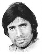 Charcoal Drawings Drawings Framed Prints - Amitabh Bachchan Framed Print by Abhijit Tagade
