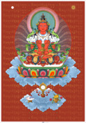 Tibetan Buddhism Digital Art Acrylic Prints - Amitayus with Mantra Acrylic Print by Fred Van der Zee