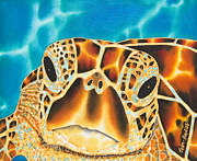 Sea Tapestries - Textiles Prints - Amitie Sea Turtle Print by Daniel Jean-Baptiste