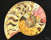 Mineral Painting Acrylic Prints - Ammonite Fossil Acrylic Print by Lynn Quinn