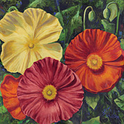 Colorful Floral Gardens Paintings - Among Friends by Billie Colson