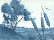 Robert Meszaros Paintings - Among The Cattails... No. Four by Robert Meszaros