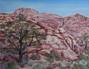Roseann Gilmore Painting Posters - Among the Red Rocks Poster by Roseann Gilmore