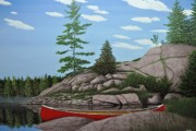 Canoes Paintings - Among the Rocks II by Kenneth M  Kirsch