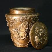 Dawn Senior-trask Reliefs - Among the Sagebrush Vase with Lid - traditional patina by Dawn Senior-Trask