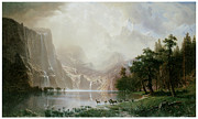 Bierstadt Prints - Among the Sierra Neveda Mountains CA 1868 Albert Bierstadt Print by Graham