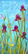 Among The Wild Irises Print by Carla Parris