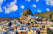 Surreal Landscape Painting Metal Prints - Amorgos Metal Print by George Rossidis