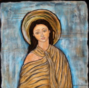 Christian Art . Devotional Art Painting Metal Prints - Amory Metal Print by Rain Ririn