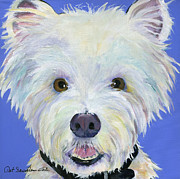 White Dog Prints - Amos Print by Pat Saunders-White