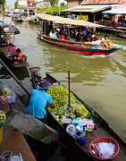 Thai Posters - Ampawa Floating Market Poster by Adrian Evans