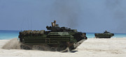 Beachhead Posters - Amphibious Assault Vehicles Raid Poster by Stocktrek Images