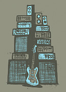 Bass Guitar Framed Prints - Ampliphones Framed Print by A Hornsby