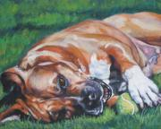 Tennis Painting Posters - Amstaff with ball Poster by L A Shepard