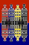 Amsterdam Digital Art - Amsterdam Architecture Merchant Houses by Asbjorn Lonvig