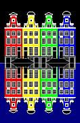 Amsterdam Digital Art - Amsterdam Architecture Merchant Houses at Night by Asbjorn Lonvig