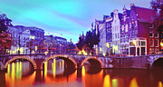 One Planet Infinite Places Prints - Amsterdam at Dusk Print by Steve Huang