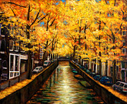 Yellows Painting Prints - Amsterdam Autumn Print by Johnathan Harris