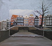 City Buildings Mixed Media Prints - Amsterdam Bridge layered Print by Anita Burgermeister
