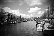 Blue And White Prints - Amsterdam BW Print by Kamil Swiatek