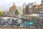 Old Home Place Framed Prints - Amsterdam canal and bikes Framed Print by Giancarlo Liguori