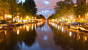 Gregory Dyer Posters - Amsterdam canal at night Poster by Gregory Dyer