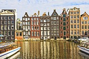 Business-travel Prints - Amsterdam canal Print by Giancarlo Liguori