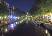 Europe Digital Art Originals - Amsterdam Canal in Moonlight by Heather Coen