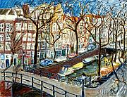 Netherlands Paintings - Amsterdam Canal by Joan De Bot