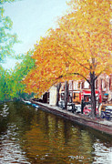 Dutch Pastels Framed Prints - Amsterdam Canal Framed Print by Richard Smith