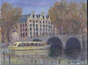 Netherlands Paintings - Amsterdam Canal Tour by Pib