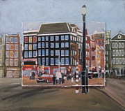 Lamp Post Mixed Media Framed Prints - Amsterdam Corner layered Framed Print by Anita Burgermeister