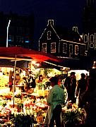 Night Scene Originals - Amsterdam Flower Market by Nancy Mueller