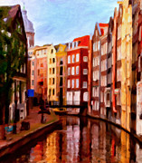 Colorful Buildings Posters - Amsterdam Poster by Michael Pickett