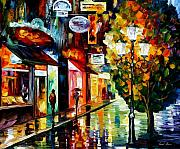 Europe Painting Acrylic Prints - Amsterdam night rain Acrylic Print by Leonid Afremov