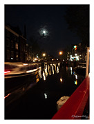 Xoanxo Cespon Framed Prints - Amsterdam under the moon Framed Print by Xoanxo Cespon