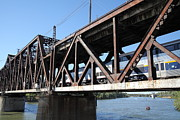 Railroads Photos - Amtrak California Crossing The Old Sacramento Southern Pacific Train Bridge . 5D18568 by Wingsdomain Art and Photography