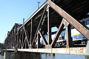 Railroads Photos - Amtrak California Crossing The Old Sacramento Southern Pacific Train Bridge . 5D18583 by Wingsdomain Art and Photography