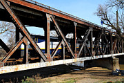 Railroads Prints - Amtrak California Crossing The Old Sacramento Southern Pacific Train Bridge . 7D11410 Print by Wingsdomain Art and Photography