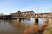 Railroads Photo Metal Prints - Amtrak California Crossing The Old Sacramento Southern Pacific Train Bridge . 7D11674 Metal Print by Wingsdomain Art and Photography