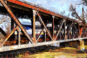 Train Digital Art Posters - Amtrak California Crossing The Old Sacramento Southern Pacific Train Bridge . Painterly 7D11410 Poster by Wingsdomain Art and Photography