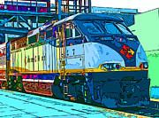 Samuel Sheats Metal Prints - AMTRAK Locomotive Study 2 Metal Print by Samuel Sheats