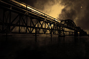 Benicia Bridge Prints - Amtrak Midnight Express - 5D18829 - Sepia Print by Wingsdomain Art and Photography