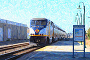Train Digital Art Posters - Amtrak Train At The Station Poster by Wingsdomain Art and Photography