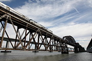 Benicia Bridge Photos - Amtrak Train Riding Atop The Benicia-Martinez Train Bridge in California - 5D18723 by Wingsdomain Art and Photography