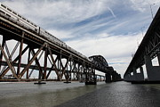 Benicia Bridge Photos - Amtrak Train Riding Atop The Benicia-Martinez Train Bridge in California - 5D18727 by Wingsdomain Art and Photography