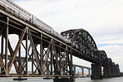 Amtrak Train Riding Atop The Benicia-martinez Train Bridge In California - 5d18728 Print by Wingsdomain Art and Photography