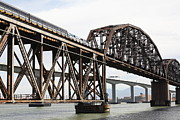 Bay Bridge Prints - Amtrak Train Riding Atop The Benicia-Martinez Train Bridge in California - 5D18768 Print by Wingsdomain Art and Photography