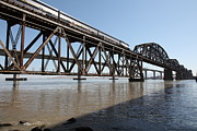 Railroads Photos - Amtrak Train Riding Atop The Benicia-Martinez Train Bridge in California - 5D18829 by Wingsdomain Art and Photography